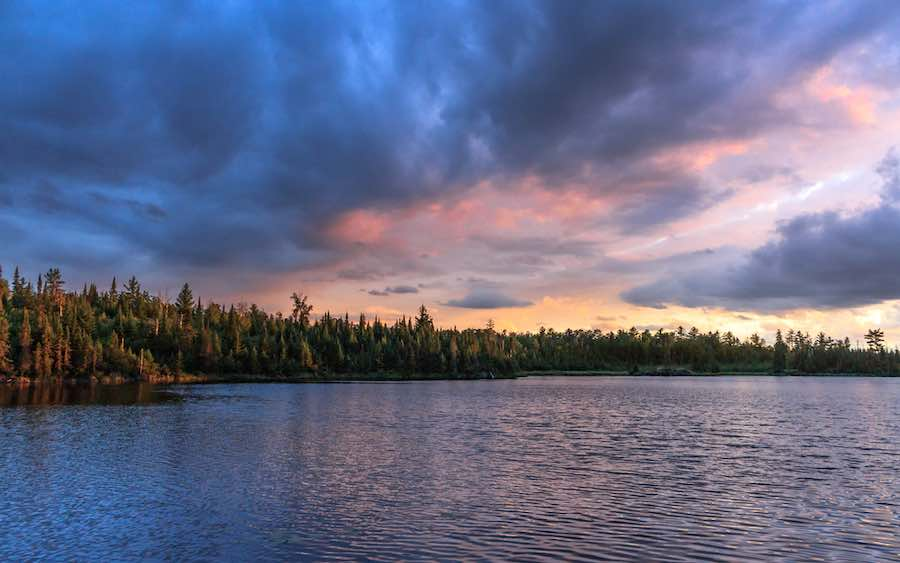 Sunset above Secret Lake in Superior National Forest