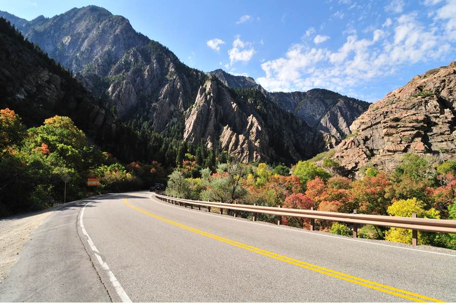 Road Leading Towards Big Cottonwood Canyon