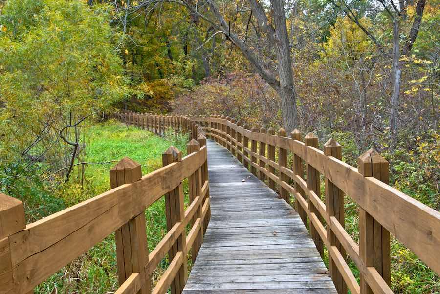 Boardwalk across a marshy area in Wallace State Park, Missouri