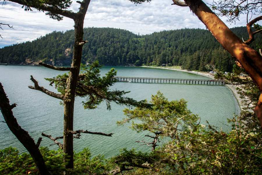 Beach with Boardwalk at Bowman Bay in Deception Pass State Park