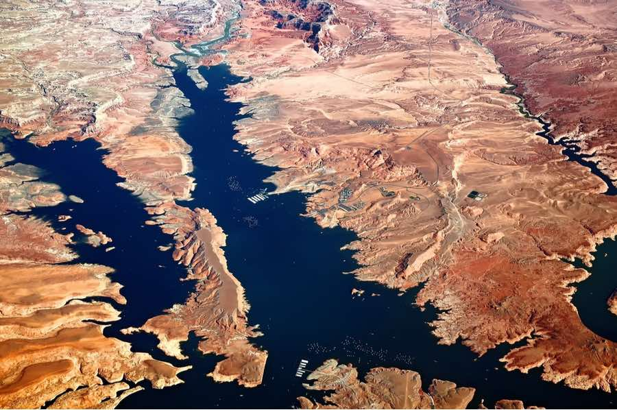 Aerial View Bullfrog Basin and Lake Powell in Glen Canyon National Recreation Area in Utah