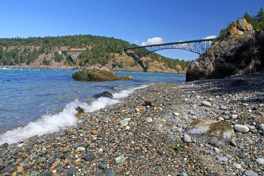 Beach with View of Deception Pass Bridge Near Campground at Deception Pass State Park