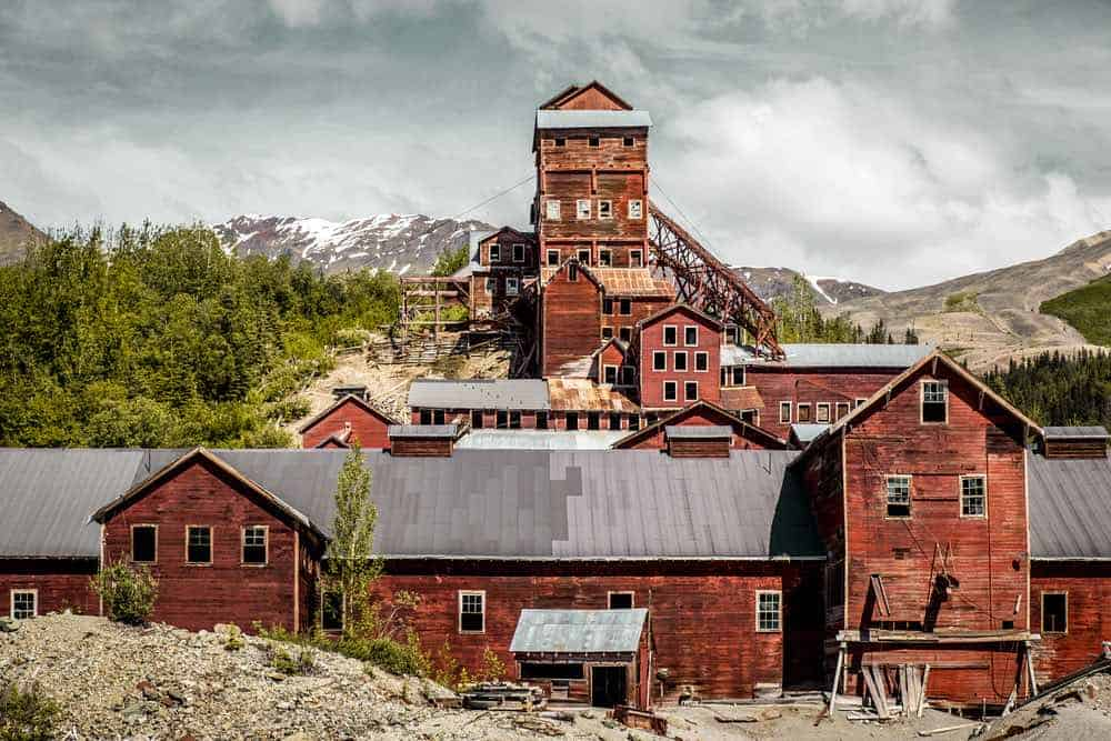The abandoned and spooky remnants of the Kennecott Copper processing mill building at the former Kennecott Copper mine in Alaska.