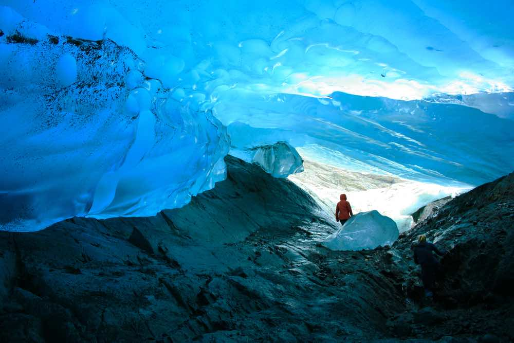 Explorer Inside Ice Cave, Mendenhall Glacier, Juneau, Alaska