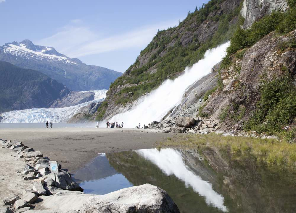 Nugget Fall and Mendenhall Glacier in Mendenhall Glacier Recreation Area (Juneau, Alaska)