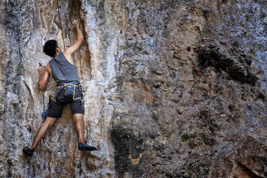 Man Climbing On an Outdoor Rock Face
