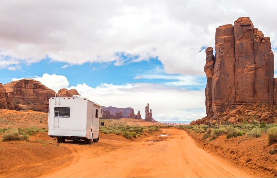 RV Pulled Off to the Side of the Road in Monument Valley