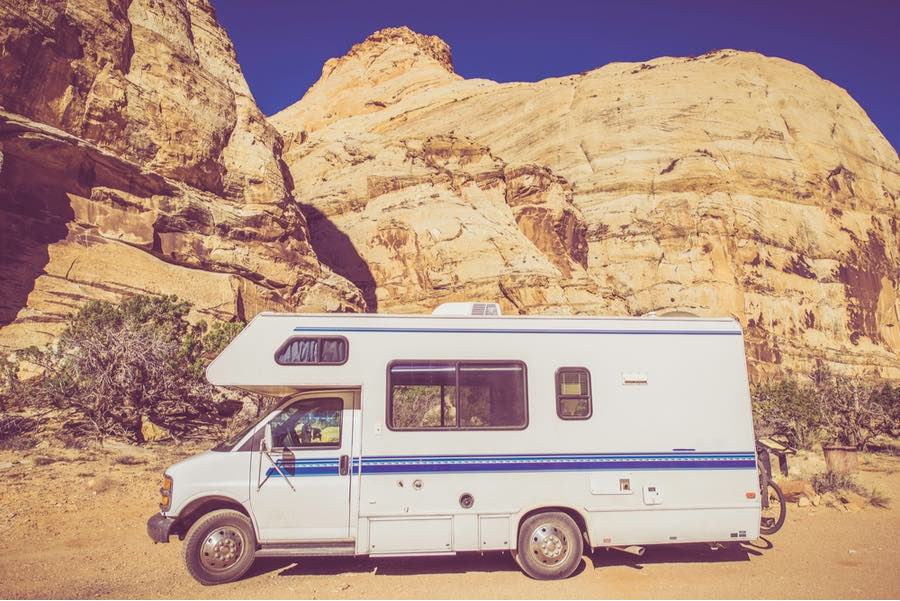 RV Parked Near Red Rock in Utah