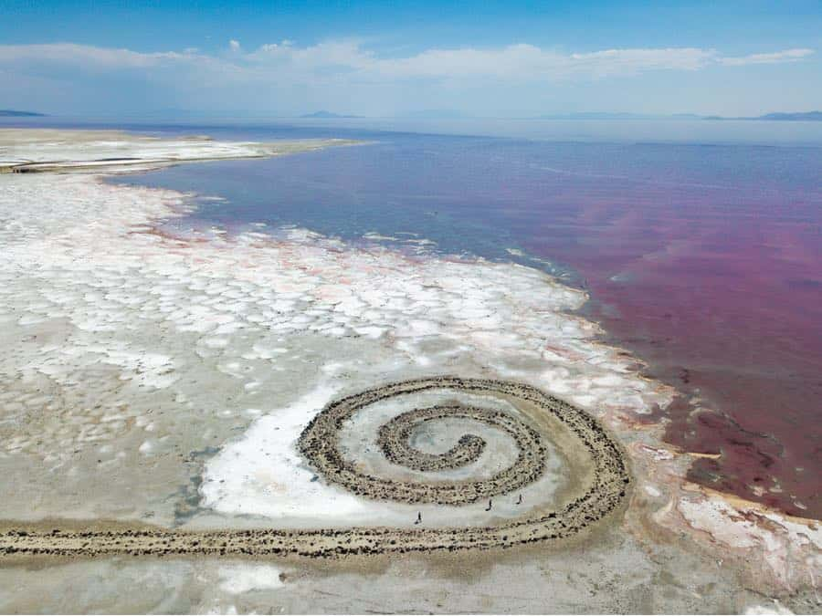 Spiral Jetty in Great Salt Lake in Utah