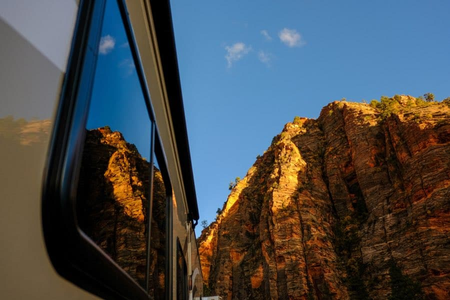 RV Camper Driving Near Zion National Park