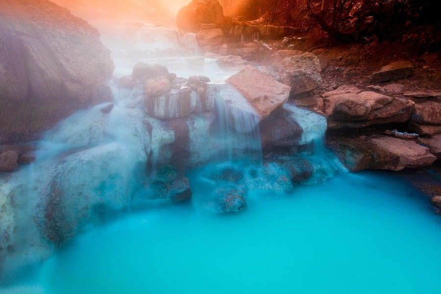 Blue Water from Natural Hot Springs in Utah