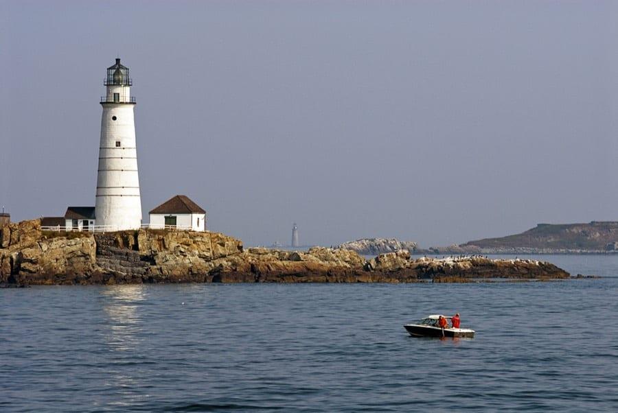 Fishing Near Lighthouse in Boston Harbor Islands