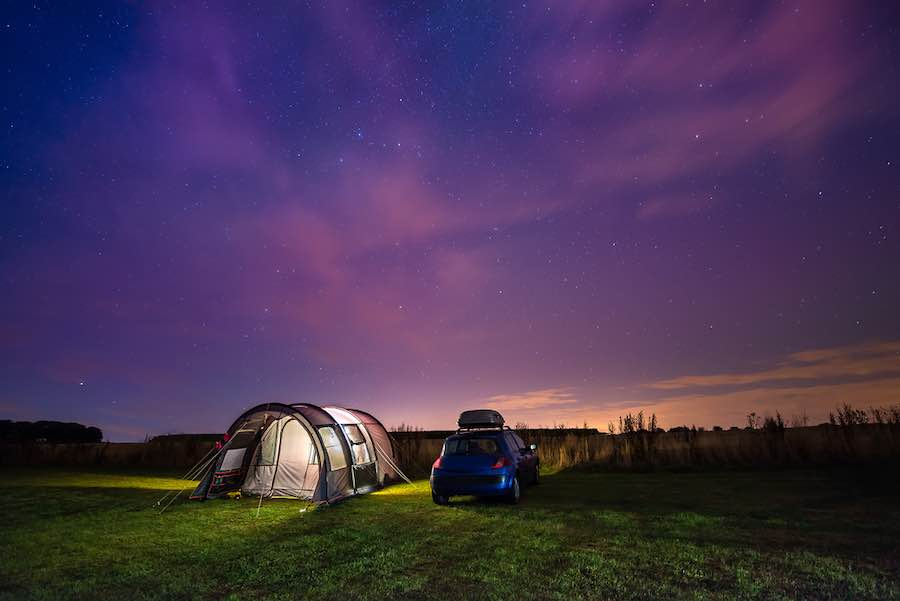 Car camping under the stars.
