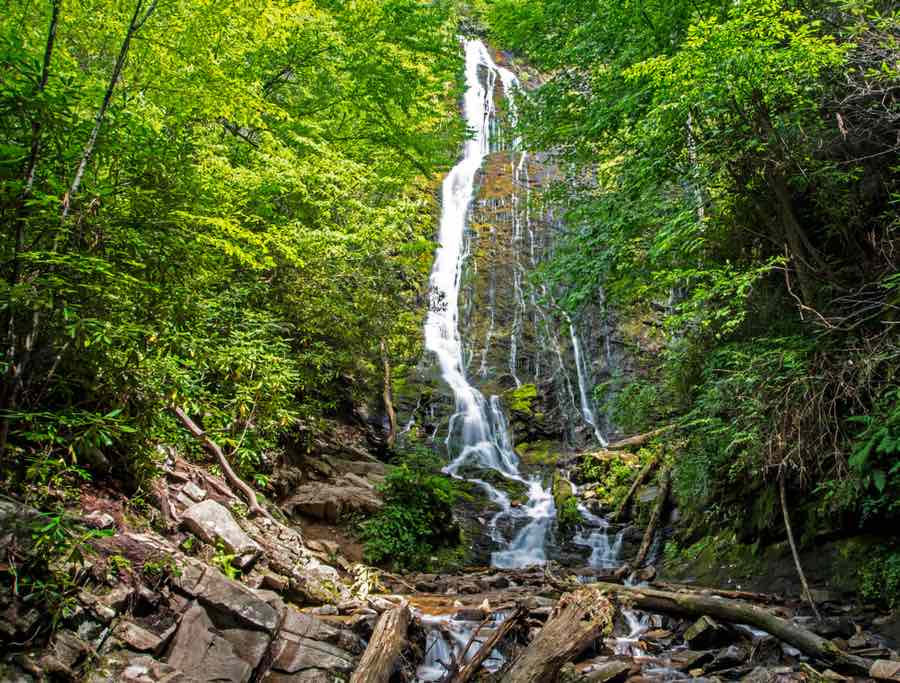 Mingo Falls on Cherokee Indian Reservation near Indian Creek Campground