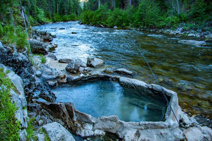 Natural hot springs on the South Fork of the Salmon River