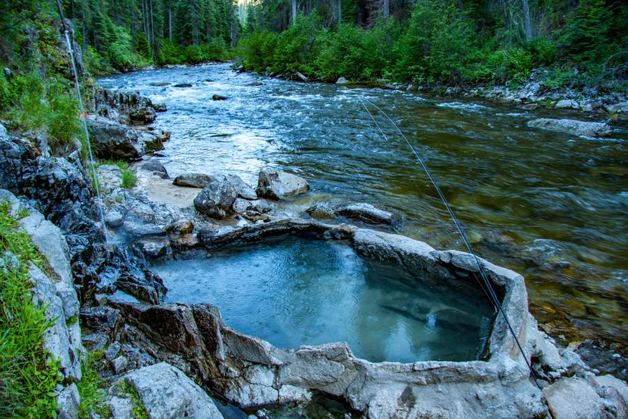 Natural Hot Springs in Idaho River