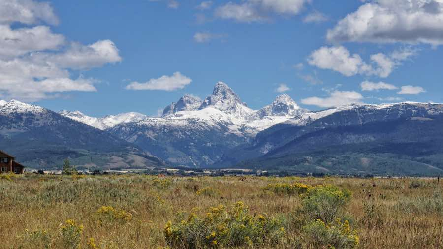 Snow capped Grand Tetons viewed from driggs Idaho