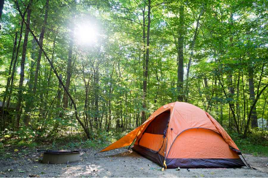 Tent Camping in the Summer in the Shade to Stay Cool