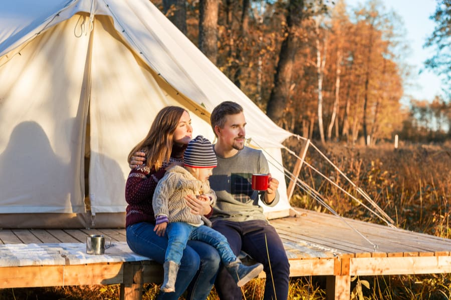 Family in Front of Glamping Tent