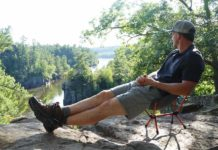 Ryan using the REI Flexlite Air Camp Chair