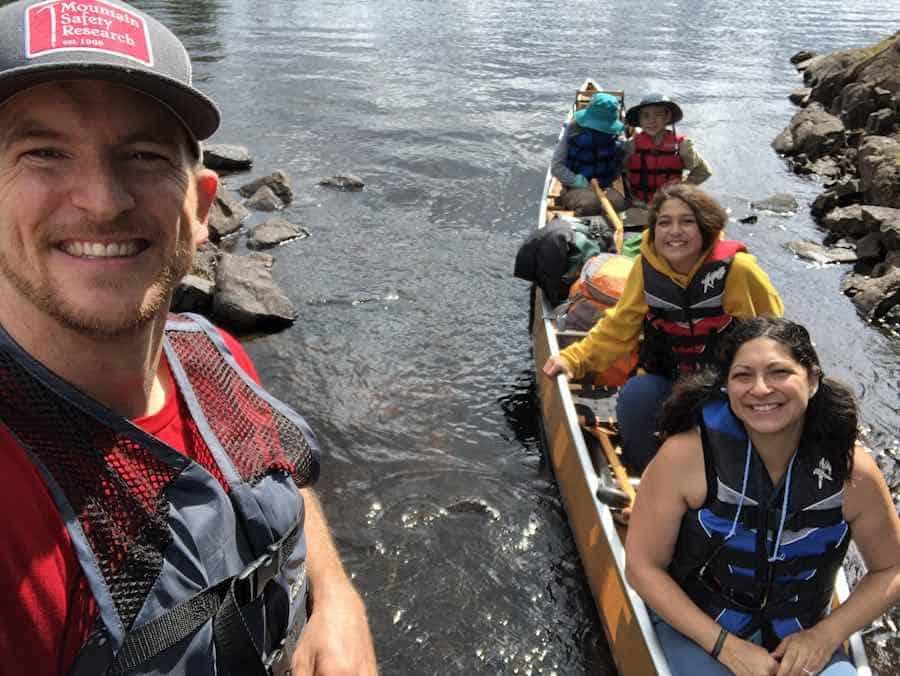 Family in the canoe in the BWCA.