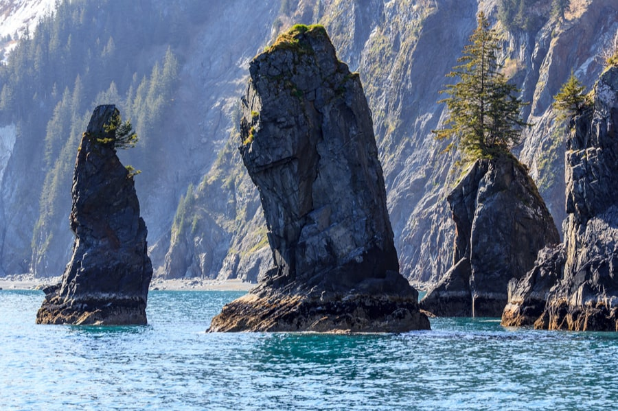 Sea Stacks Near Kenai in Alaska