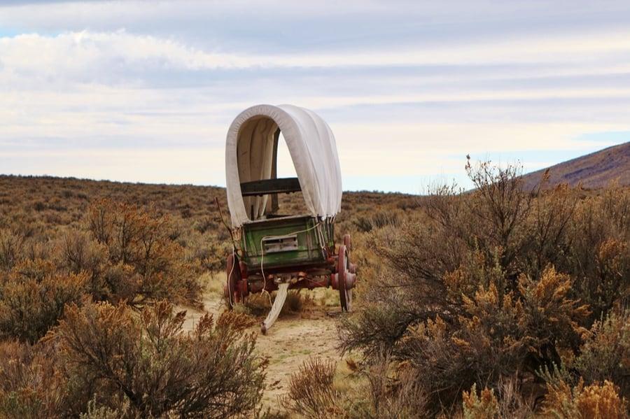 Covered Wagon Near Baker City Oregon