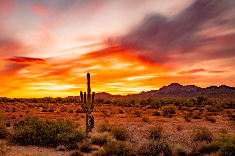 Sunset Near Quartzsite, Home to One of the Best RV Parks in Arizona