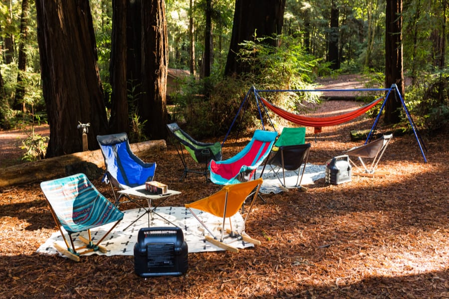 Camping and Backpacking Chairs Near a Tent Heater