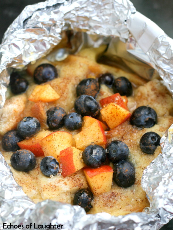 Tin Foil Blueberry & Peach French Toast