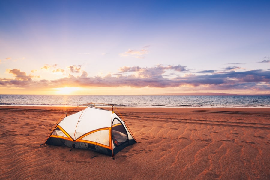 Camping Tent on the Beach in Hawaii