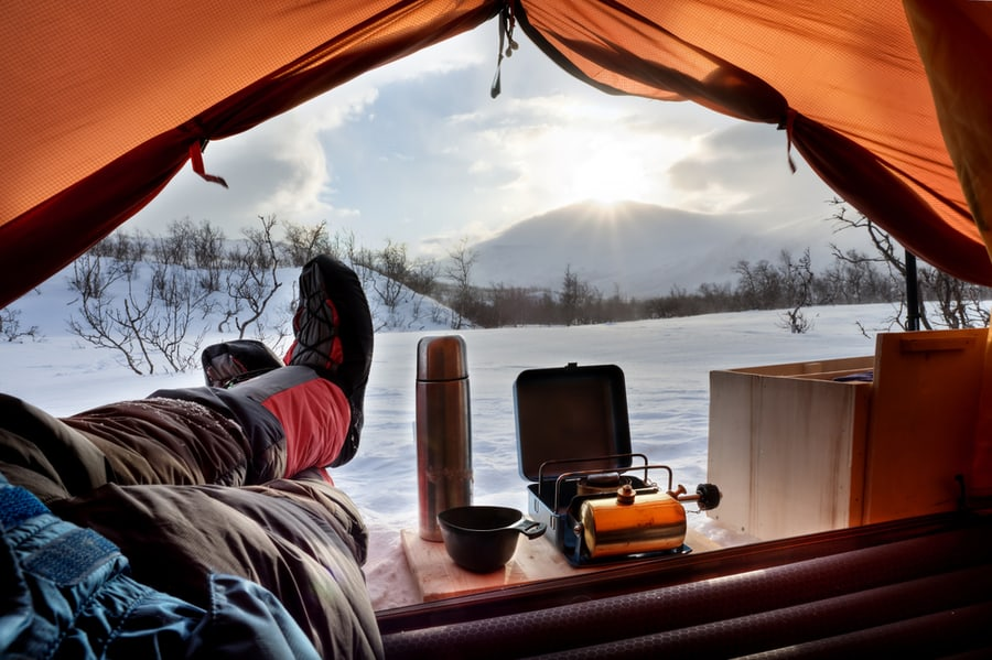 Looking Out of a Tent on a Winter Day