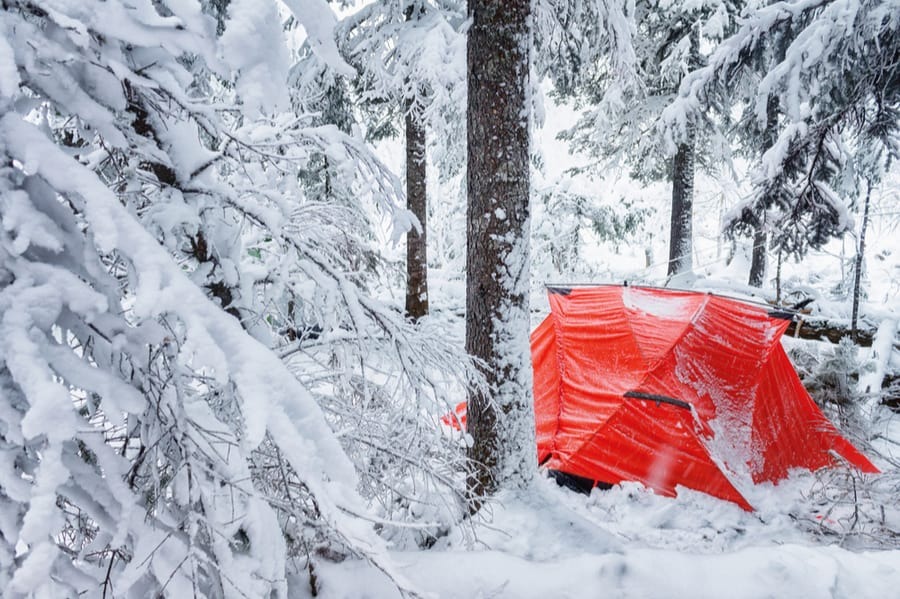 Red Tent in Snow