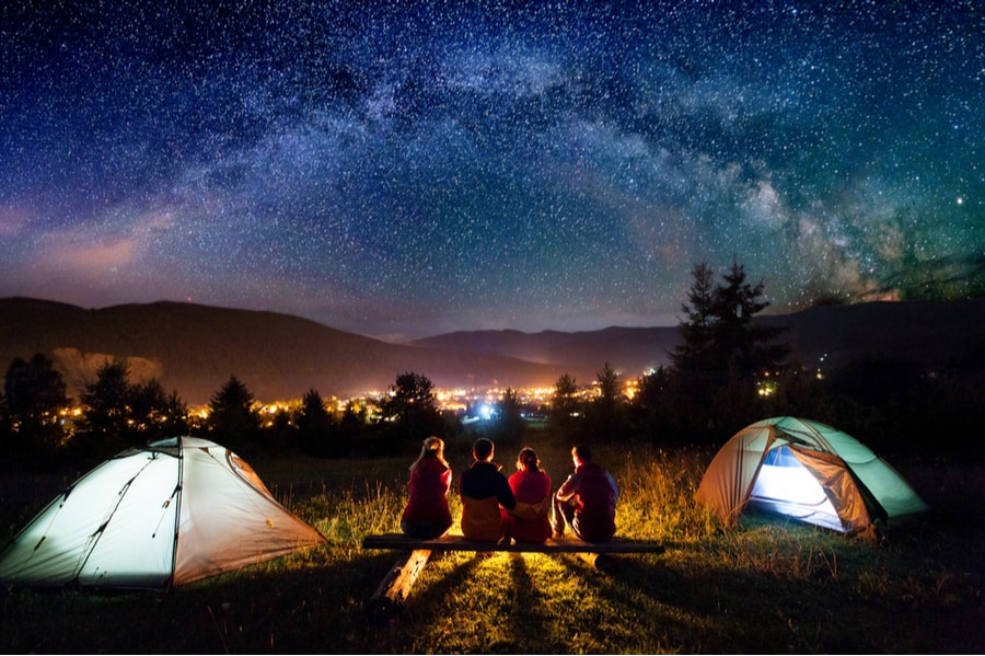 Tent Camping On a Hill With Milky Way in Background