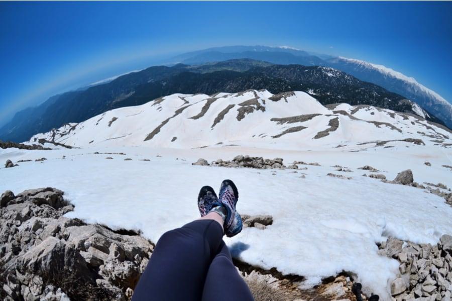Winter Hiker Legs in the Snow