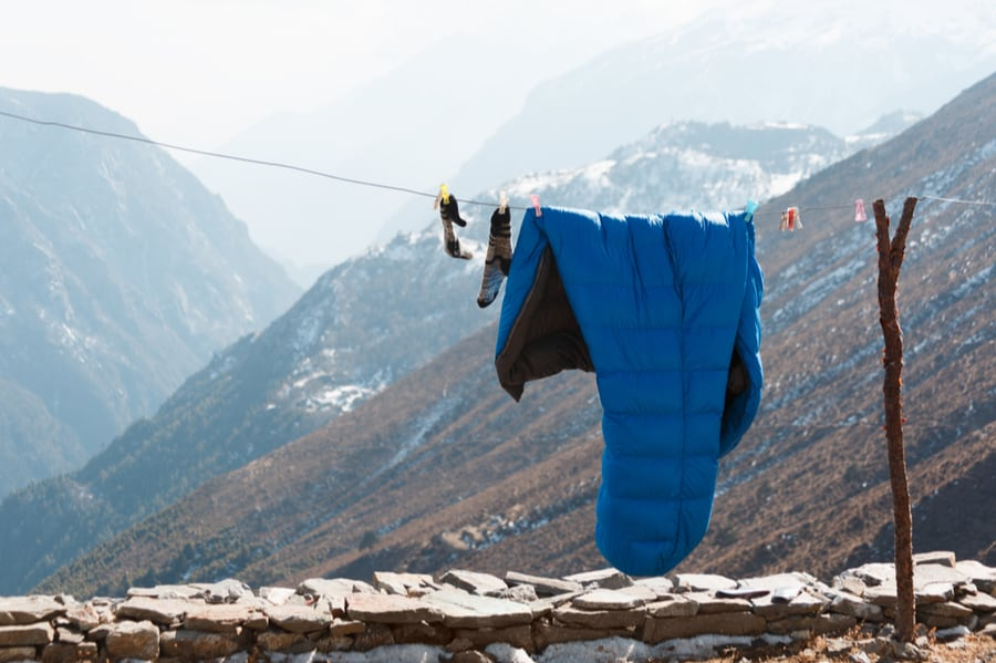 Winter Sleeping Bag Hanging on Rope