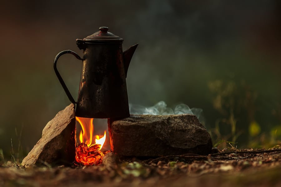Camp Coffee Percolator on Campfire