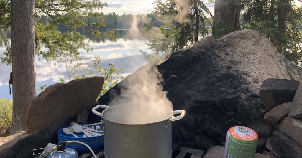 Steam coming off the MSR Stockpot over the lake