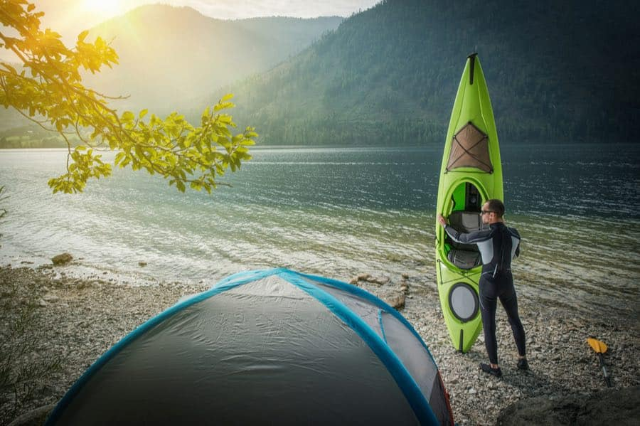 Camping Kayak by Tent