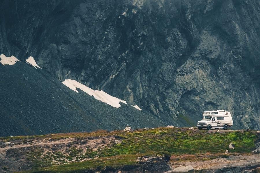 RV Camper Van in Mountains