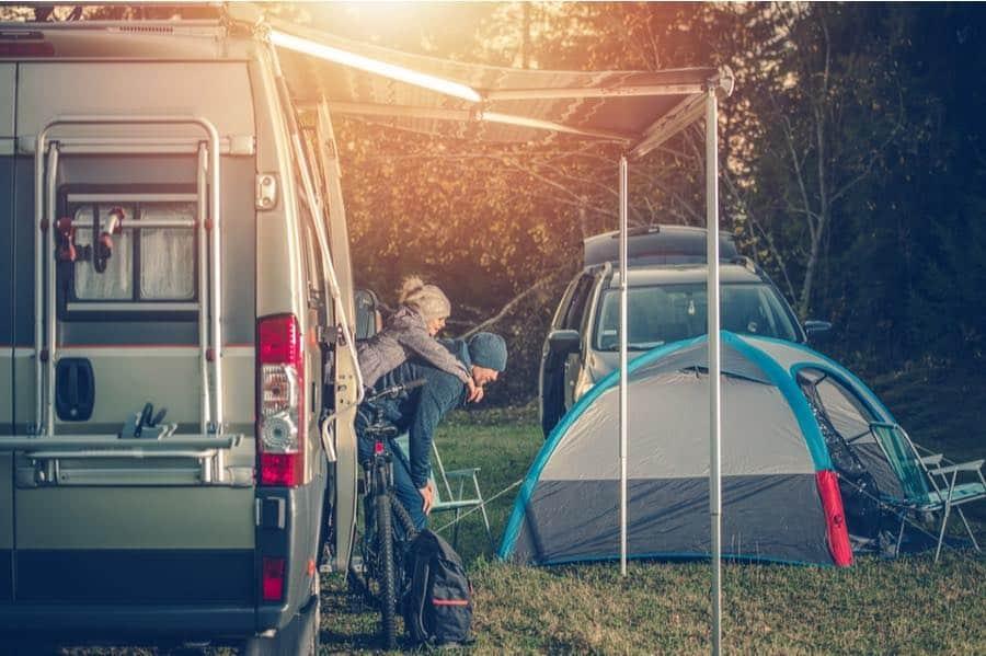 Man and Girl RV Camping