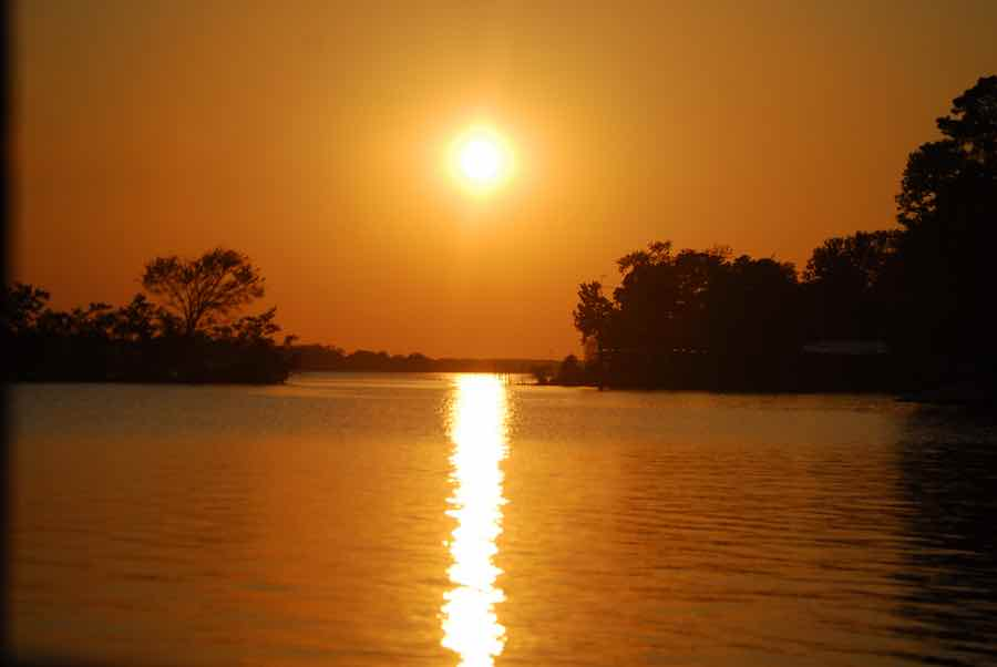 Lake Murvaul in Carthage, Texas at dusk
