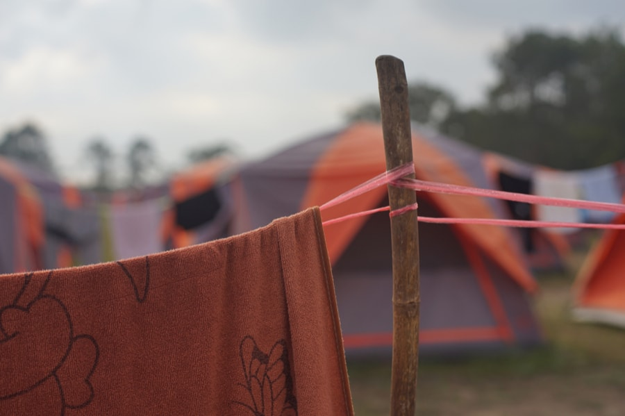 Towel Drying on Line Near Tent
