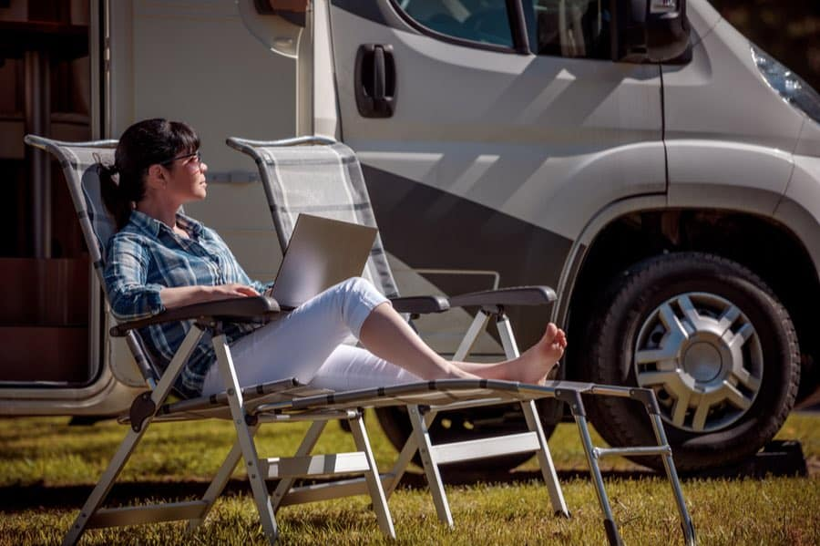 Woman Sitting in Front of RV