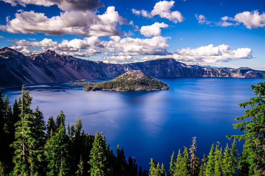 View of Crater Lake with Wizard Island