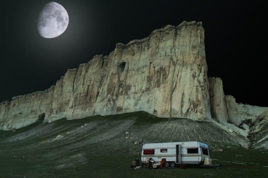 Trailer Boondocking in Desert Until Full Moon