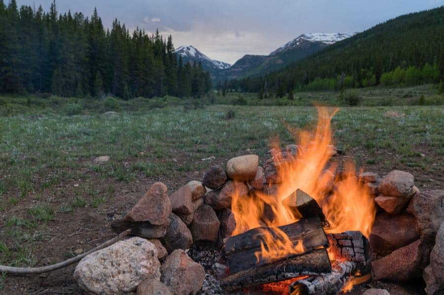 Campfire at Dispersed Campsite