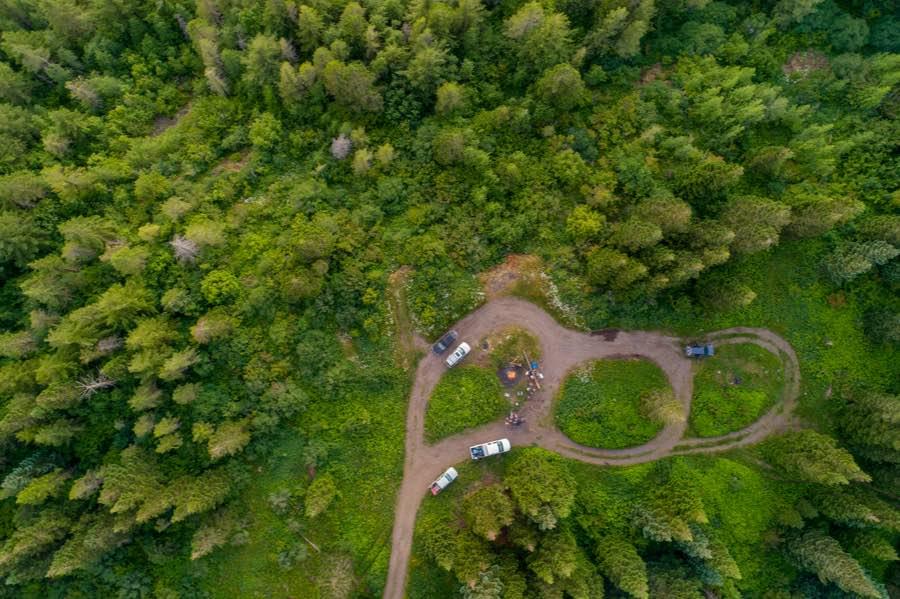 Dispersed Campsite Pull-Off Aerial View