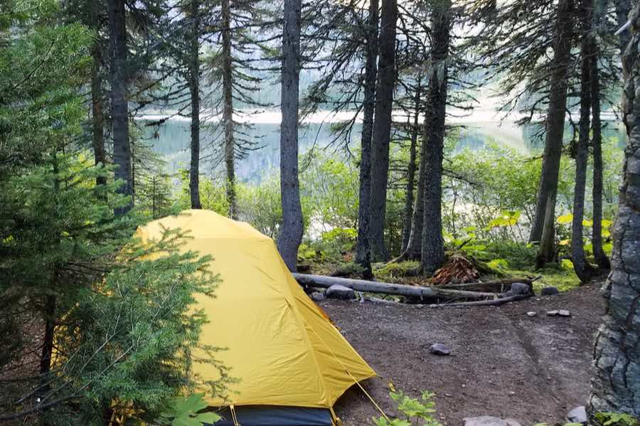 Tent Camping at Arrow Lake in Glacier National Park