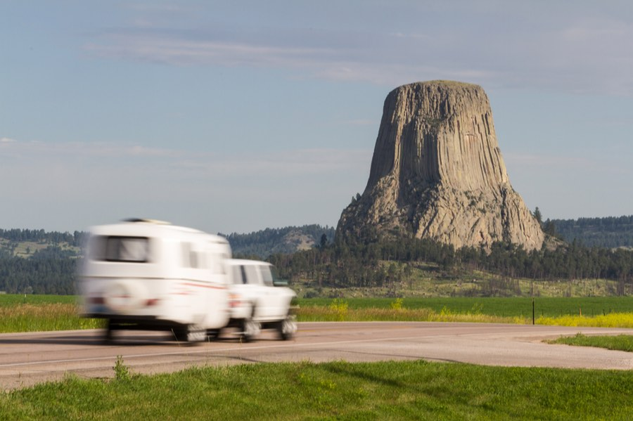 Trailer Camping at Devils Tower in Wyoming